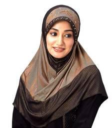 Buy Golden Stretchble Polyester Handwork Hijab hijab online