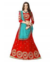Red embroidered  cotton silk semi stitched lehenga with dupatta