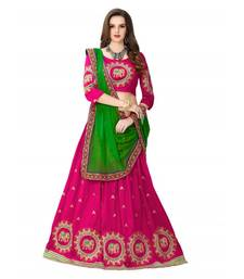 Pink embroidered  cotton silk semi stitched lehenga with dupatta