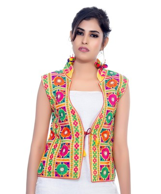 00d7597960 Yellow Kutchi Embroidered Dupion Silk Waist Length Jacket Women Ethnic Wear  - Banjara India - 2686071