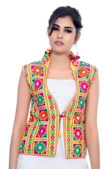 4d918e32ba Yellow Kutchi Embroidered Dupion Silk Waist Length Jacket Women Ethnic Wear  · Shop Now