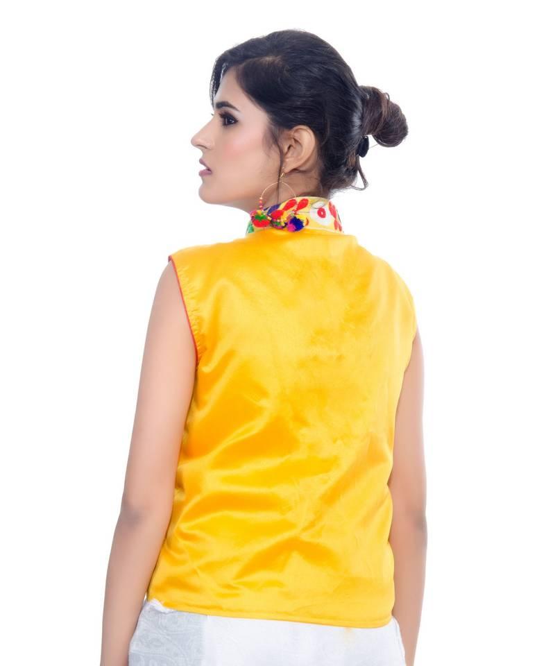 1a0bfa08a3 Yellow Kutchi Embroidered Dupion Silk Waist Length Jacket Women Ethnic Wear  ...