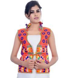 Red Kutchi Embroidered Dupion Silk Waist Length Jacket Women Ethnic Wear