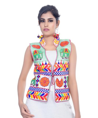 719d22ed21 White Kutchi Embroidered Dupion Silk Waist Length Jacket Women Ethnic Wear  - Banjara India - 2686080