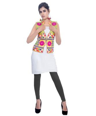d85627ad1f Pink Kutchi Embroidered Dupion Silk Waist Length Jacket Women Ethnic Wear -  Banjara India - 2686084