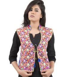 Blue Kutchi Embroidered Dupion Silk Waist Length Jacket Women Ethnic Wear