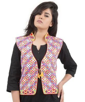 0b99cd4090 Yellow Kutchi Embroidered Dupion Silk Waist Length Jacket Women Ethnic Wear  - Banjara India - 2686089