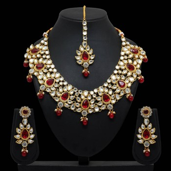 Maroon Color Imitation Pearl and Kundan Necklace With Earrings and Maang Tikka