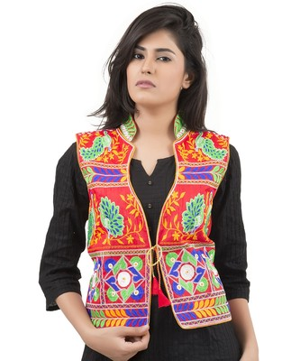 Red Kutchi Embroidered Dupion Silk Waist Length Jacket Women Ethnic Wear