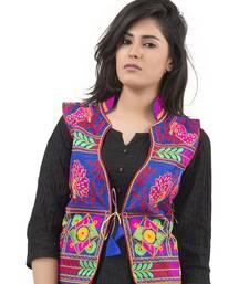 Blue Kutchi Embroidered Dupion Silk Waist Length Jacket Women Ethnic Wear