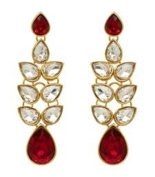 Maroon Color Kundan Earrings For Girls and Women