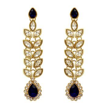 Blue Color Traditional Kundan Earrings