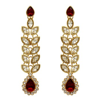 Partywear Collection Maroon Color Kundan Earrings