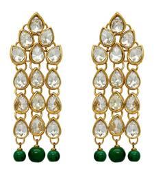 Green Color Traditional Kundan Earrings For Women