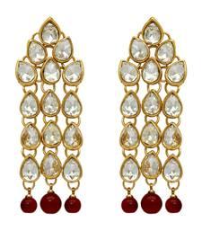 Maroon Color Beautiful Design Kundan Earrings
