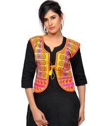 Yellow Kutchi Embroidered Dupion Silk Waist Length Jacket Women Ethnic Wear
