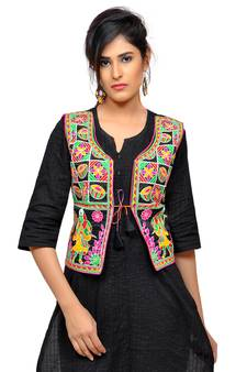 ad89d9f8375 Black Kutchi Embroidered Dupion Silk Waist Length Jacket Women Ethnic Wear  · Shop Now