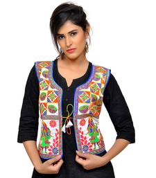 White Kutchi Embroidered Dupion Silk Waist Length Jacket Women Ethnic Wear