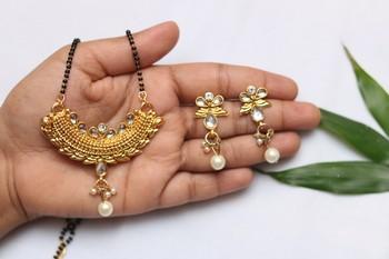 Crescent Shape floral kundan Mangalsutra Set