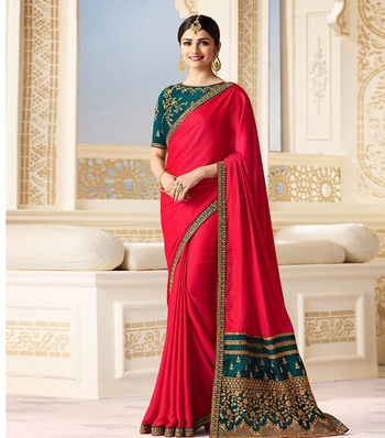 Pink embroidered chinnon silk saree with blouse