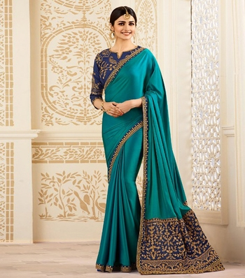 Multicolor embroidered chinnon silk saree with blouse
