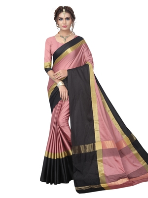 Blush pink  woven art silk saree with blouse
