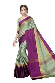 4c89df2a25d Green woven art silk saree with blouse. Shop Now