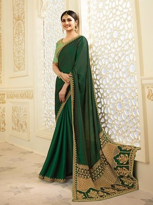Green Embroidered Chinnon Silk Saree With Blouse