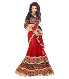 Buy Red embroidered net saree with blouse lehenga-saree online