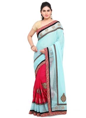 Multicolor zari georgette saree with blouse