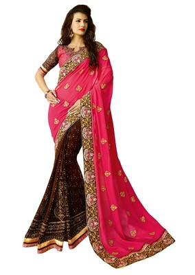 Pink zari georgette saree with blouse