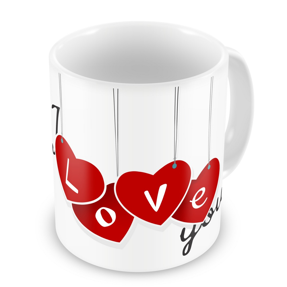 Lovely I Love You Heart Print Adorable Coffee Mug