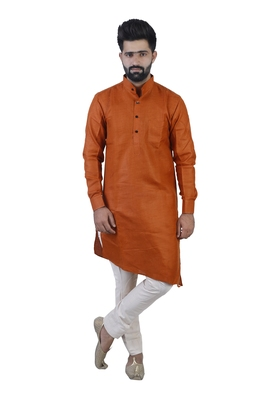 Orange Cotton Plain Men Kurta