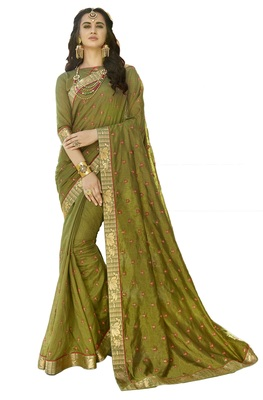 Olive embroidered art silk saree with blouse