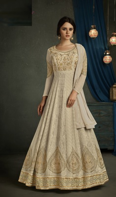 Beige Georgette Semi Stitched Anarkali Suit
