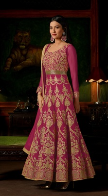 Pink georgette semi stitched Anarkali Suit