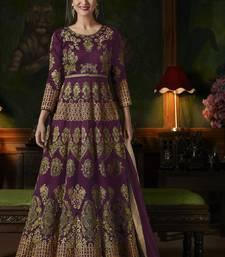 Buy Purple silk semi stitched salwar with dupatta anarkali-salwar-kameez online