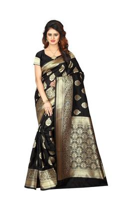 efdb377d71 Black woven banarasi art silk saree with blouse - Shoppershopee ...