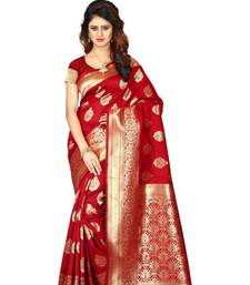 Red woven banarasi art silk  saree with blouse banarasi-saree