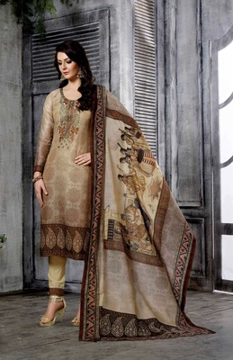 ba409e2db6 Brown chanderi cotton semi stitched salwar with dupatta - The ...