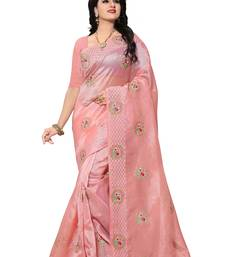 Buy Light pink embroidered organza saree with blouse organza-saree online