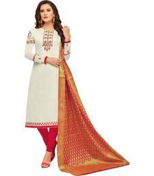 White embroidered chanderi salwar
