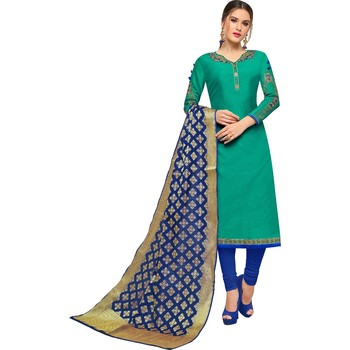 Teal embroidered chanderi salwar