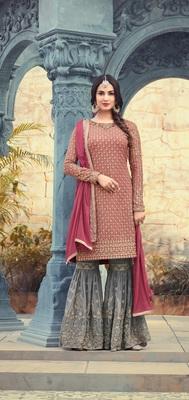 Pink georgette semi stitched Sharara Suit