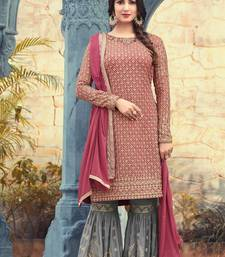 Buy Pink georgette semi stitched salwar with dupatta sharara online