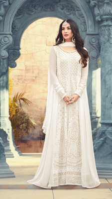 White georgette semi stitched Anarkali Suit