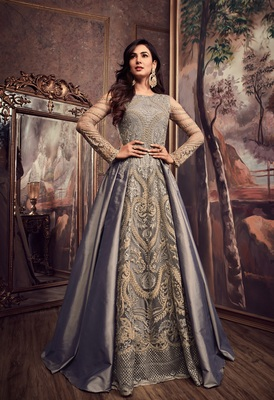 Grey embroidered art silk semi stitched salwar with dupatta