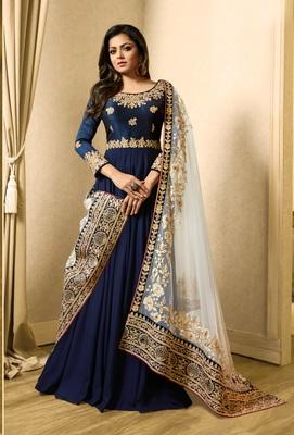 Blue georgette semi stitched Anarkali Suit