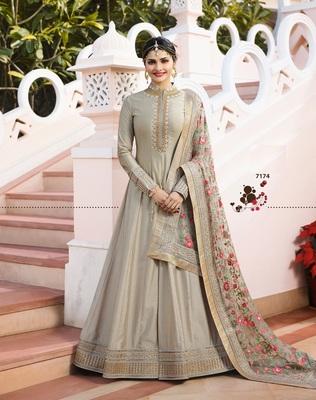Grey Silk Semi Stitched Anarkali Suit