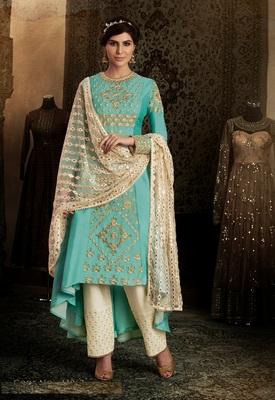 Sky blue silk semi stitched salwar with dupatta